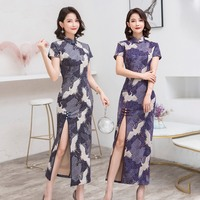 Shanghai Story Suede Fabric Chinese Traditional Dresses Long Cheongsam Short Sleeve Sexy high split Qipao 2 Color