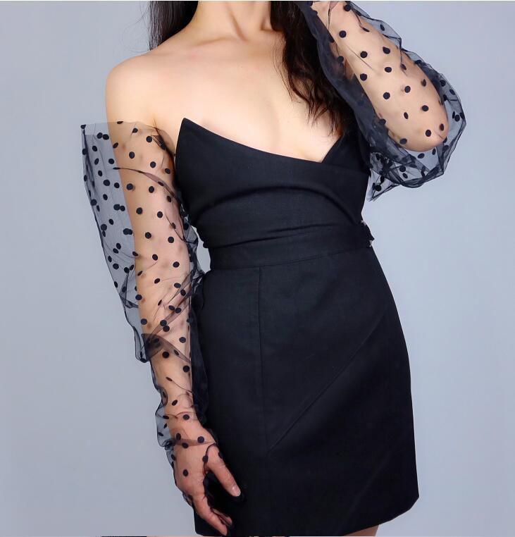 Women's Sexy Transparent Dot Print Wide Sleeve Long White Mesh Glove Female Summer Sunscreen Club Party Dancing Glove R2489