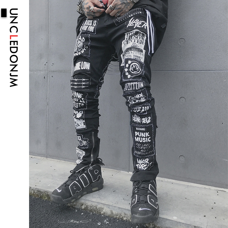 UNCLEDONJM Men's Casual Black Jeans 2019 Men Skinny Slim Fit Zip Ripped Distressed Jeans Denim Pants Vintage Long Trousers BD007