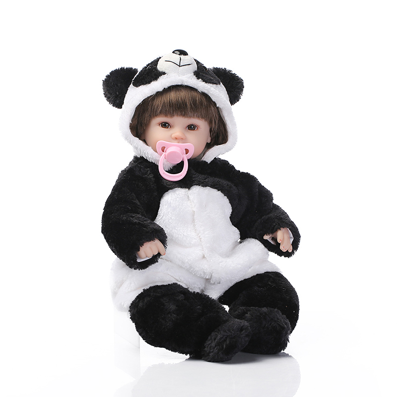 41CM Mini Reborn Baby Doll Toys For Children Silicone Alive Stuffed Babies Lifelike Kawaii Toys Panda Reborn Doll For Kid Toy