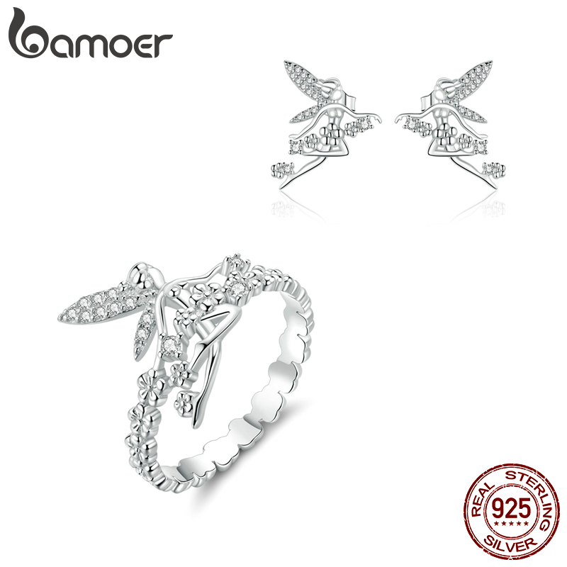 Bamoer 925 Sterling Silver Flower Fairy Elf Rings And Stud Earrings For Women Jewelry Sets Wedding Statement Jewelry ZHS194