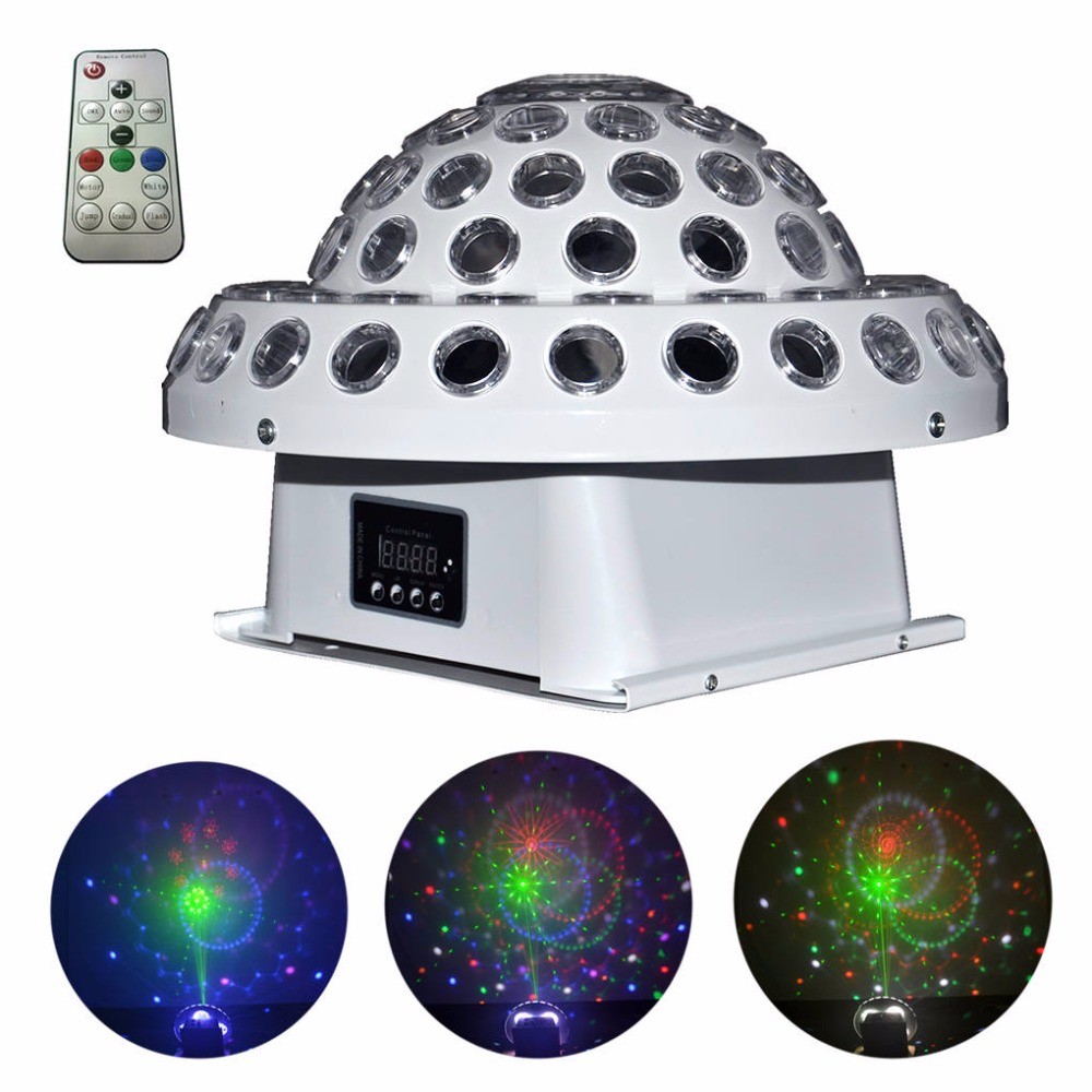 AUCD Remote DMX Gobo RG Laser Lights Mixed RGB Full Coloer LED Disco Crystal Ball Lamp Xmas DJ Home Party Show Stage Lighting MB