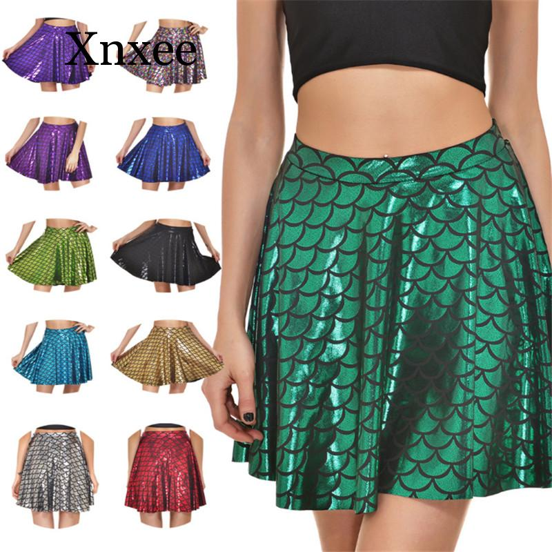 New Sequins Skirts Plus Size Sexy 12 Colors Women's New Summer Mermaid Color Scales Skirts 3D Digital Printing Skirts