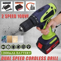 Becornce 108VF 12800mAh Dual Speed Cordless Electric Drill Multifunctional High Power Household Electric Drills W/Accessories