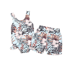 Swimsuit Matching Newborn Shorts Tankini Flowers Baby-Girls Summer Hollow Sister Leaves