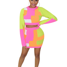 Echoine Long Sleeve Crop Top and Mini Skirt Two Piece Set Sexy Bodycon Women Matching Club Outfits tracksuit women Autumn