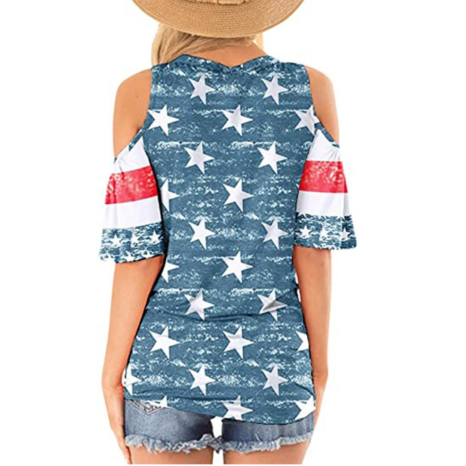 Womens Patriotic Stripes Star American Flag Cold Shoulder Button Down Blouse Top