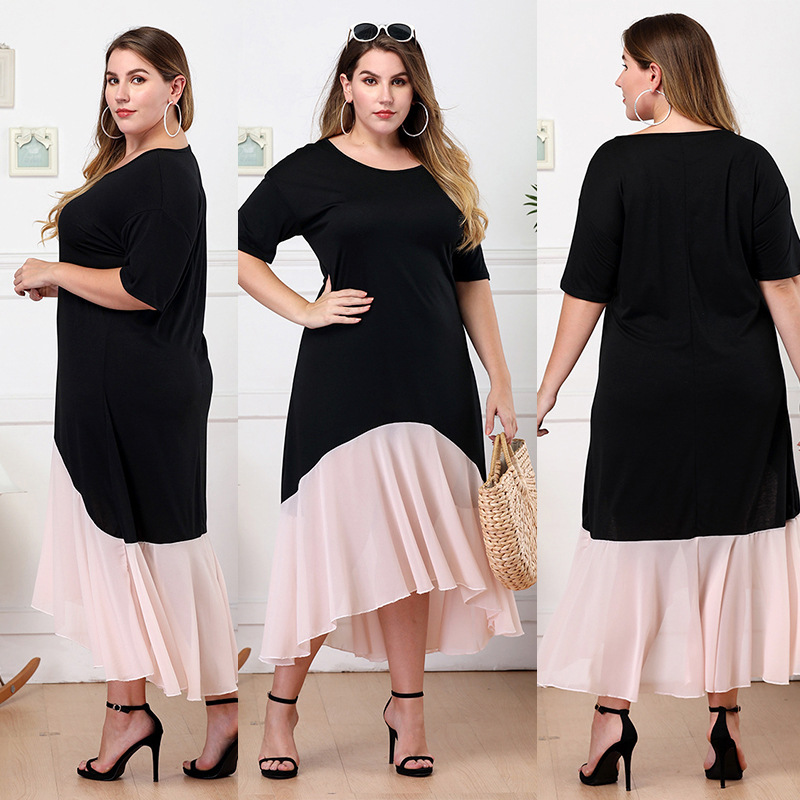 038 Amazon Europe And America Hot Selling WOMEN'S Dress Crew Neck Short Sleeve Pleated Irregular Long Skirts Large Size Medium-l