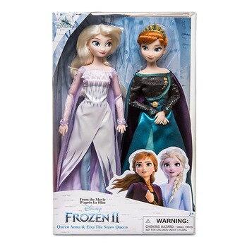 Disney Toys-Juguetes De Frozen 2, muñecas de Elsa y Anna, princesas con accesorios, conjunto Olfa, muñecos de colección para niñas, regalos para niños con caja