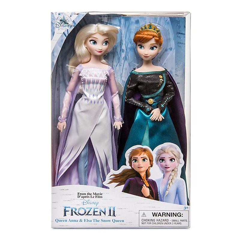 Disney brinquedos congelados 2 elsa e anna princesa boneca brinquedos com acessórios conjuntos olfa coleção da menina bonecas crianças presentes com caixa