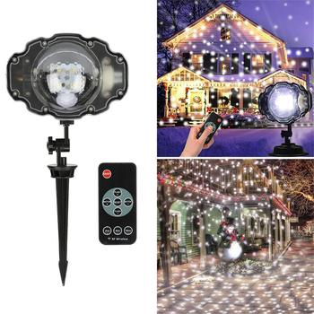 Christmas Snowflake Laser Projection RGEY LED Snow Falling Moving Projector Fairy Light New Year Remote Control Garden Lawn Lamp 16 patterns christmas led projector light new year laser snowflake projection stage light waterproof home garden lawn lamp