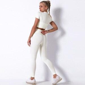 7 farben Frauen Nahtlose Yoga Set Kurzarm Crop Top Hohe Taille Sport Leggings Active Wear Gym Anzug Workout Kleidung für Frauen