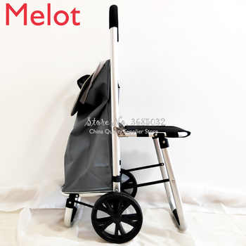 Ultra-light aluminum alloy trolley cart Portable Mute Wear-resistant folding luggage cart Mini shopping cart Upgraded version - DISCOUNT ITEM  0 OFF All Category