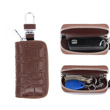 Мужская кожаная сумка для ключей на молнии, многофункциональная сумка для автомобильных ключей, Женская деловая сумка для автомобильных кл...