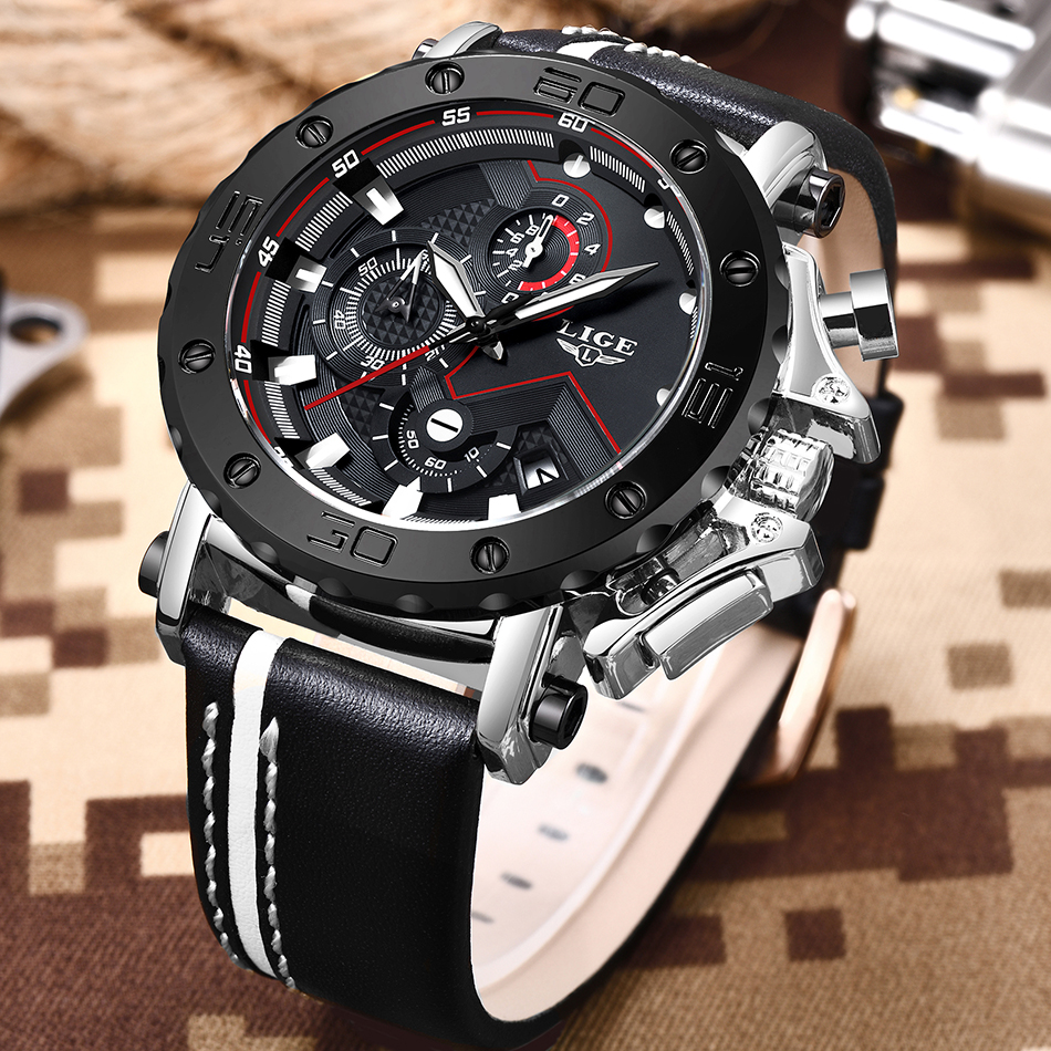 2020 LIGE Mens Watches Top Brand Luxury Fashion Military Quartz Watch Men Leather Waterproof Sport Chronograph Relogio Masculino He892416ff5fd4cbcb35430babdf975852