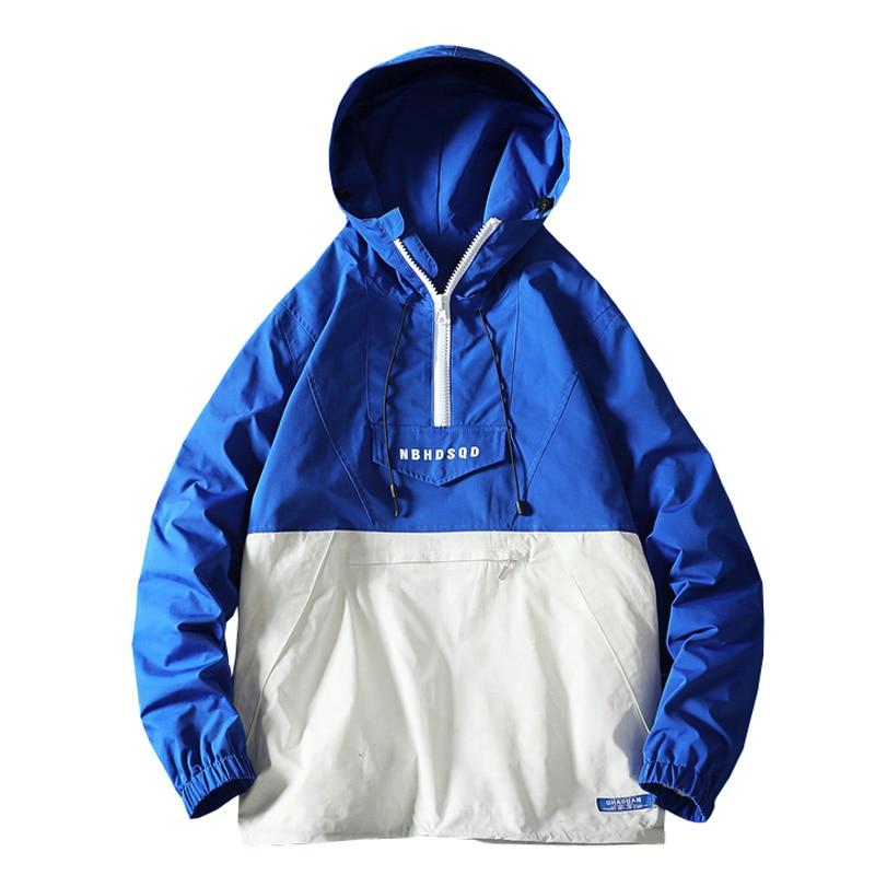 2019 Harajuku Jacket Men Hip Hop Hooded Windbreaker Jackets Patchwork Japanese Streetwear Tracksuit Coat ABZ591