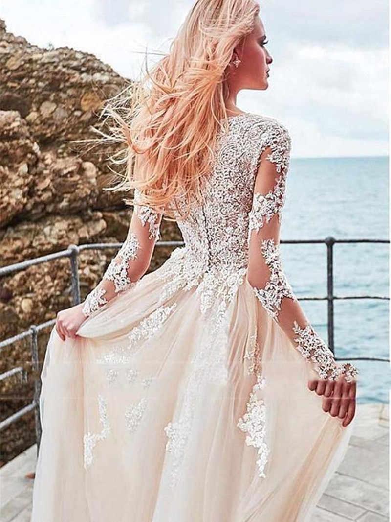Romântico Estilo Praia Bohemian Vestido de Noiva de Renda 2019 Elegante Manga Comprida Vestido de Noiva de Tule Vestidos de Casamento Vestido De Noiva