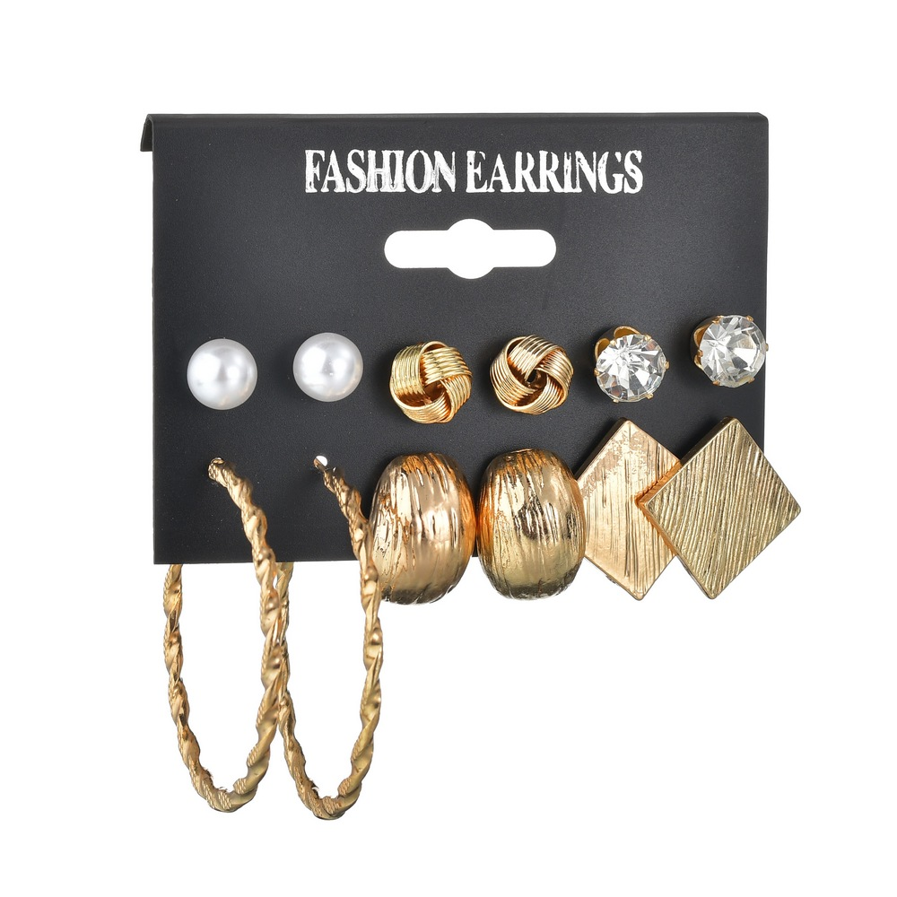 MissCyCy Korea New Fashion 6pairs Earring Sets Gold Color Zinc Alloy Geometric Rhinestone Mixed Stud Earrings Set For Women Girl