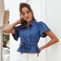 JYSS Новая Модная Джинсовая блузка для женщин, короткий отложной воротник, короткий рукав, Женские топы и блузки с поясом 20006