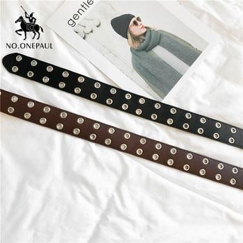 NO.ONEPAUL women belt Genuine Leather New Punk style fashion Pin Buckle jeans Decorative Belt Chain luxury brand belts for women 2
