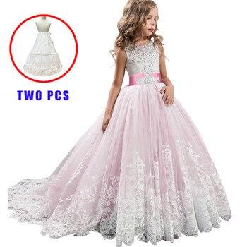 Vestido blanco de dama de honor para niñas, traje de princesa, para...