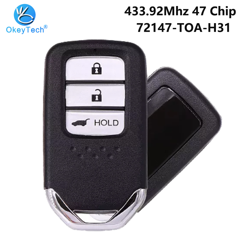 OkeyTech 3 Button 433.92 Mhz 3 Button ID47 Chip 72147-TOA-H31 with HON66 Insert Blade Smart Key for <font><b>Honda</b></font> 2015 <font><b>CRV</b></font> <font><b>Remote</b></font> Key image