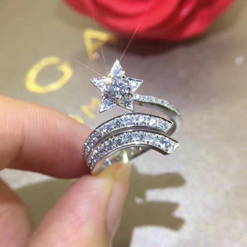 YANHUI Bohemian Style Original 925 Silver Star Rings Women's Full Circle Cubic Zircon Christmas Jewelry Layered Ring Wedding Gif