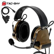 TAC-SKY COMTAC II silicone earmuffs hearing noise reduction pickup military tactical headset CB + U94 Kenwood plug PTT
