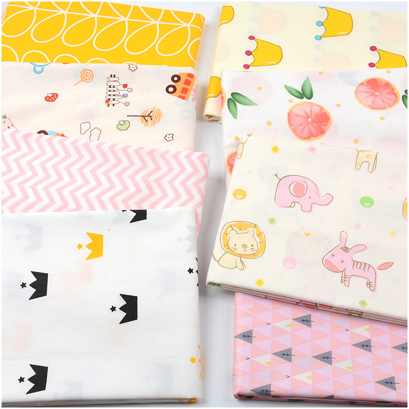 100cmX160cm Cotton Printed Cotton Twill Baby Cartoon Clothing Bed Sheet Tablecloth Fabric 100% Cotton Casual Animal Print
