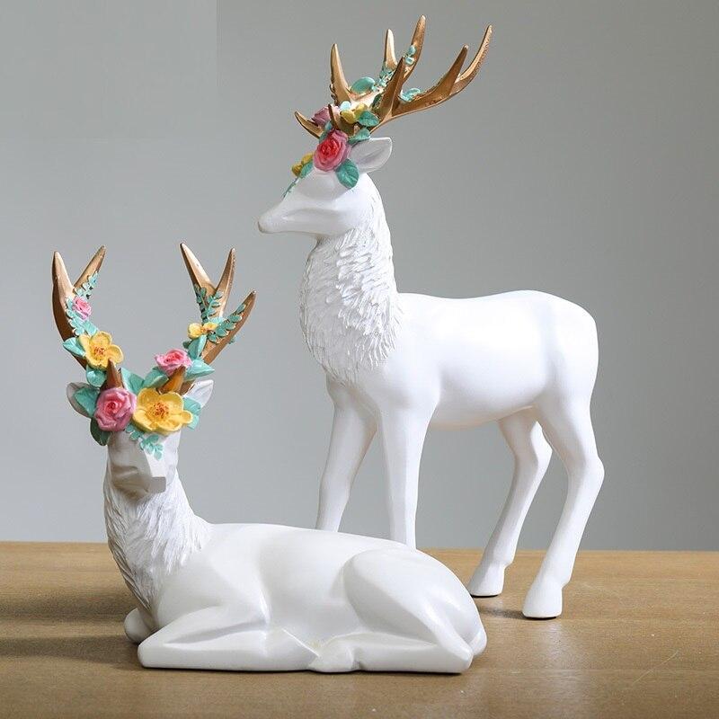 Estilo nórdico ayaka cervos arte escultura elk estátua resina criativa artesanato mostrar janela decorações da sala de estar para casa r3500