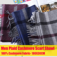 100% Pure Cashmere Scarf for Women Men Thicken Plaid Cashmere Shawl Scarves Unisex Winter Warm Plaid Long Scarves with Tassel