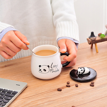 Cartoon Panda Ceramic Mug Creative Coffee Cup with Lid and Spoon Large Capacity Water cup Milk Cups Animal Mugs Home Drinkware peacock shape water cup large capacity mug with lid spoon creative personality tea cup ceramic coffee cup latte milk mug