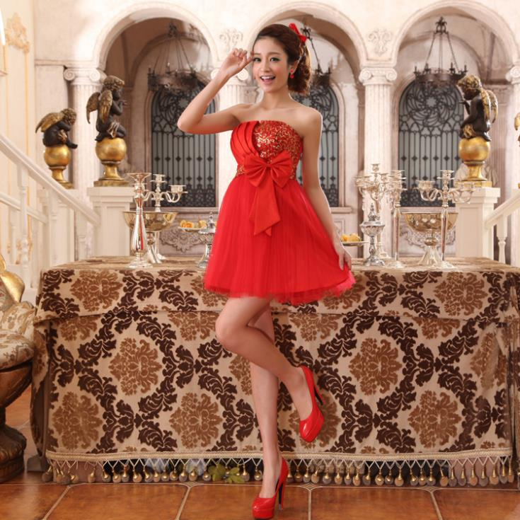 Free Shipping Weddings 2015 New Bow Short Mini Party Prom Gown Tulle Formal Dress Strapless Red Sequined Bridesmaid Dresses