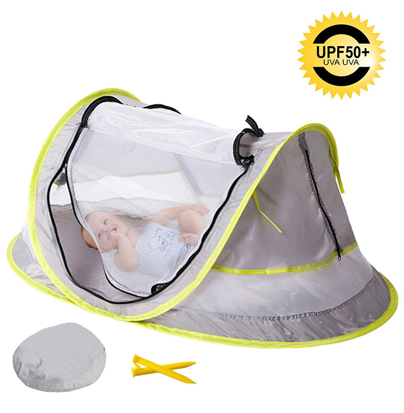 Baby Beach Tent  Baby Travel Bed, Portable UPF 50+ Sun Shelter, Baby Travel Tent Pop Up Mosquito Net And 2 Pegs