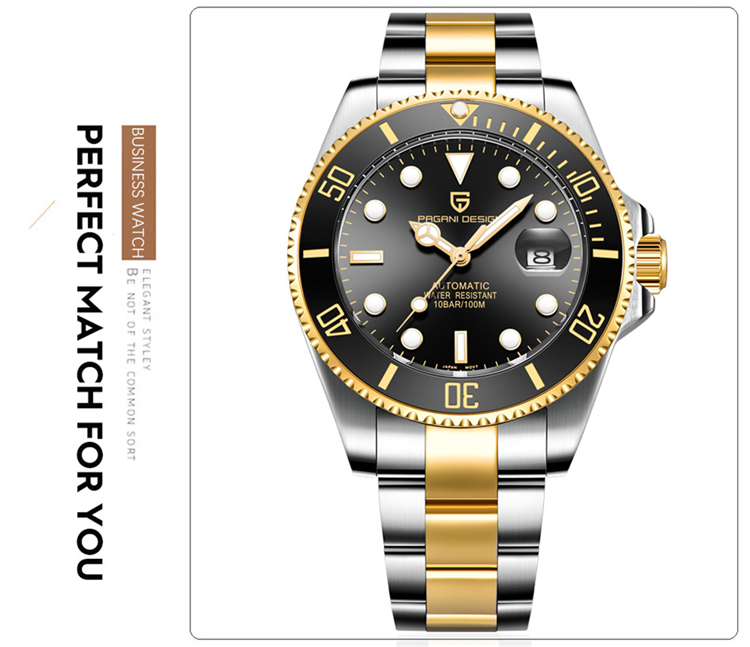 He892ed093f9c4a0e93395145773e9c18I PAGANI Design Brand Luxury Men Watches Automatic Black Watch Men Stainless Steel Waterproof Business Sport Mechanical Wristwatch