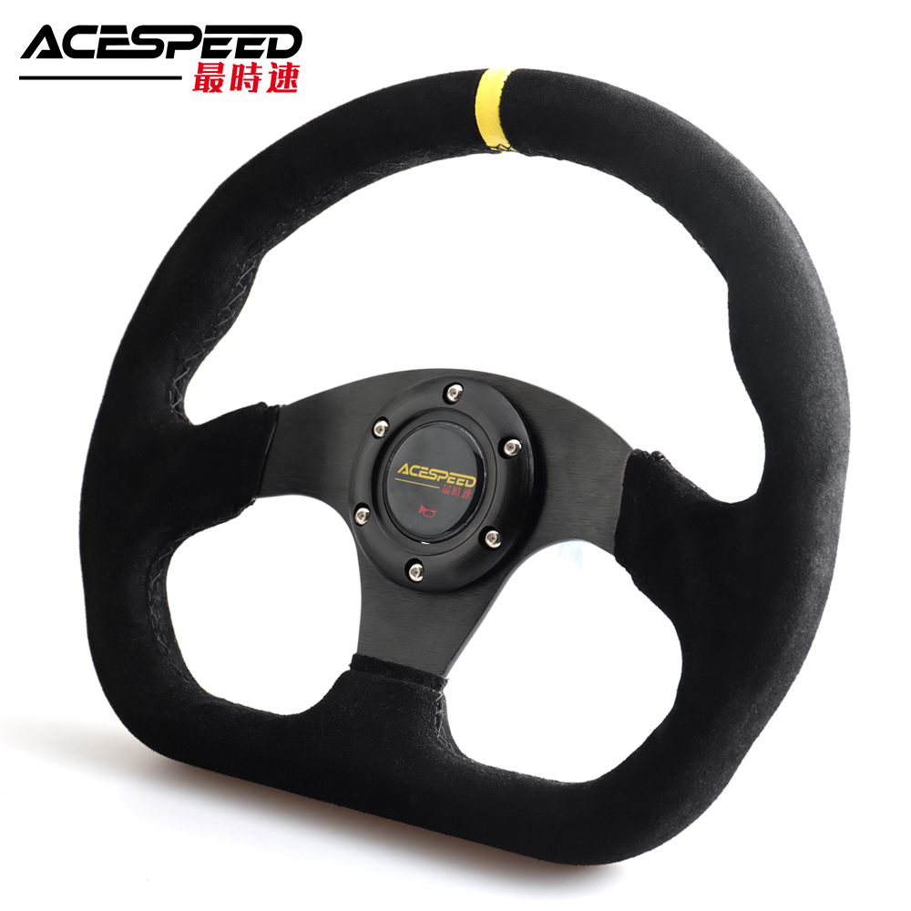 330mm 13Inch Racing Drift Flat Steering Wheel Suede Leather Black Stitching Steering Wheel Fit Car and Simulation Racing Game
