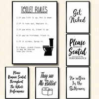 Wall Art Canvas Painting Funny Bathroom Rules Sign Nordic Black White Poster Prints Toilet Humour Pictures Bathroom Home Decor
