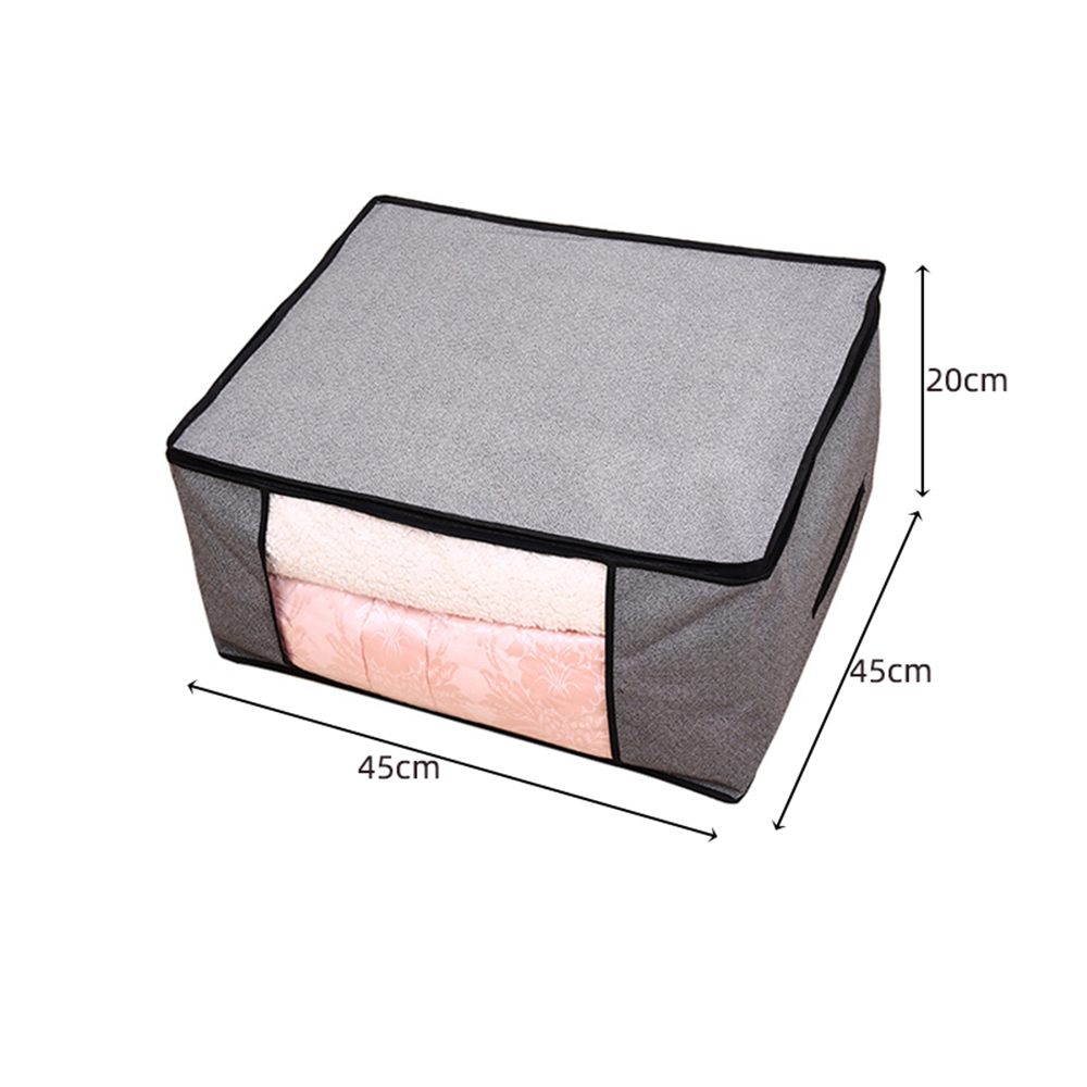 Non Woven Fabric Folding Storage Box Dirty Clothes Collecting Case With Zipper For Toys Quilt Storage Box Clear Window Organizer - Цвет: 45x45x20cm gray