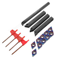 DANIU 4pcs 12mm Lathe Turning Tool Holder With 10pcs Blue nano DCMT070204 Carbide Inserts