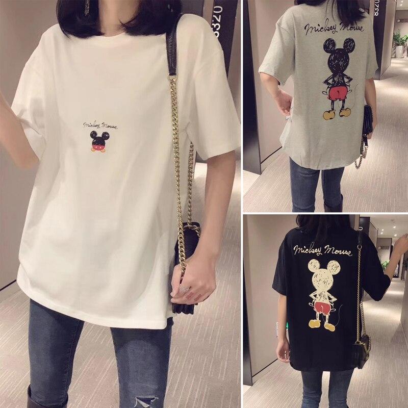 Women Shirts 2020 T-shirt Women White Mickey Cartoon Mouse Women Short Summer Regular T Shirt O-Neck White Tops Tee Shirt Loose
