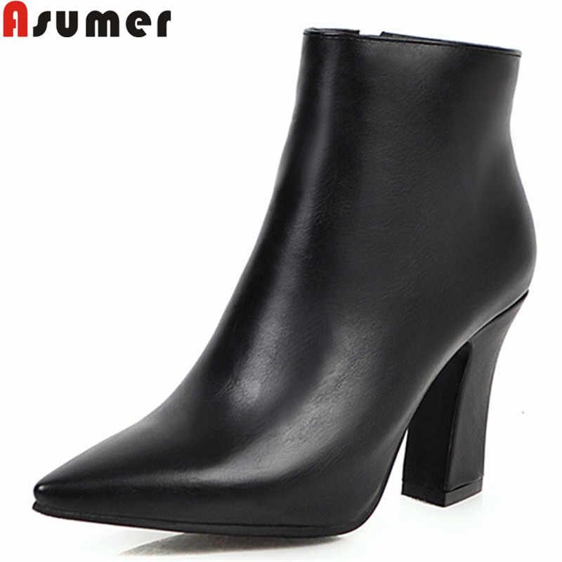 Asumer 2020 Mới Mắt Cá Chân Giày Nữ Mũi Nhọn Nữ Hứa Giày Cao Gót Khóa Kéo Nữ Thu Đông Giày Plus size 34-48