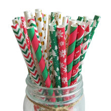 Christmas Disposable Paper Stripe Straw Biodegradable Sucker for Drinking Milk Juice(China)