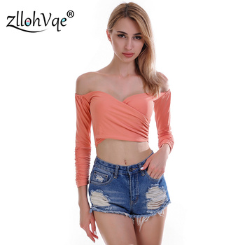 Zllohvqe Sexy Slash Neck Long Sleeve Women Top Pure Color Exposed Navel Fashion Ladies