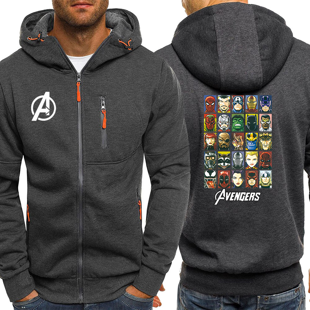 Marvel Superhero Print Zip Coat Casual Black Hoodie Sweatshirt Men The Avengers Hoodies Spring Autumn Jacket Mens Streetwear