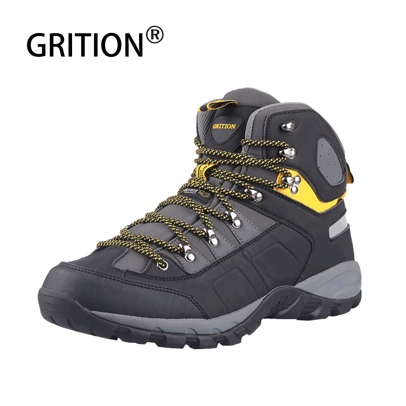 GRITION Men Winter Boots Waterproof Outdoor High Quality Work Safely Shoes Casual Non-slip Hiking Snow Boots Tactical Big Size
