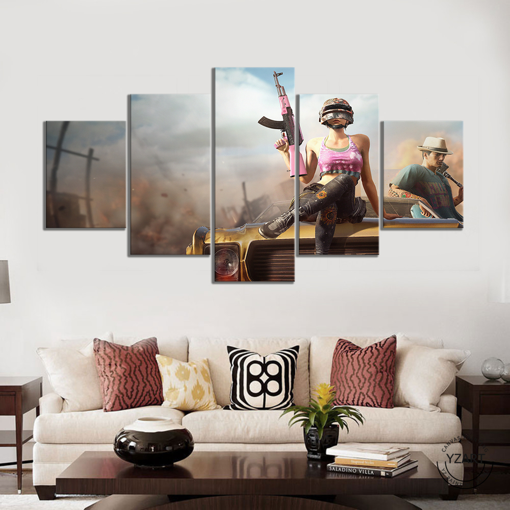 5pcs PUBG Warrior Poster Paintings HD Wall Picture Canvas Paintings for Bedroom Decor PUBG Game Poster 1