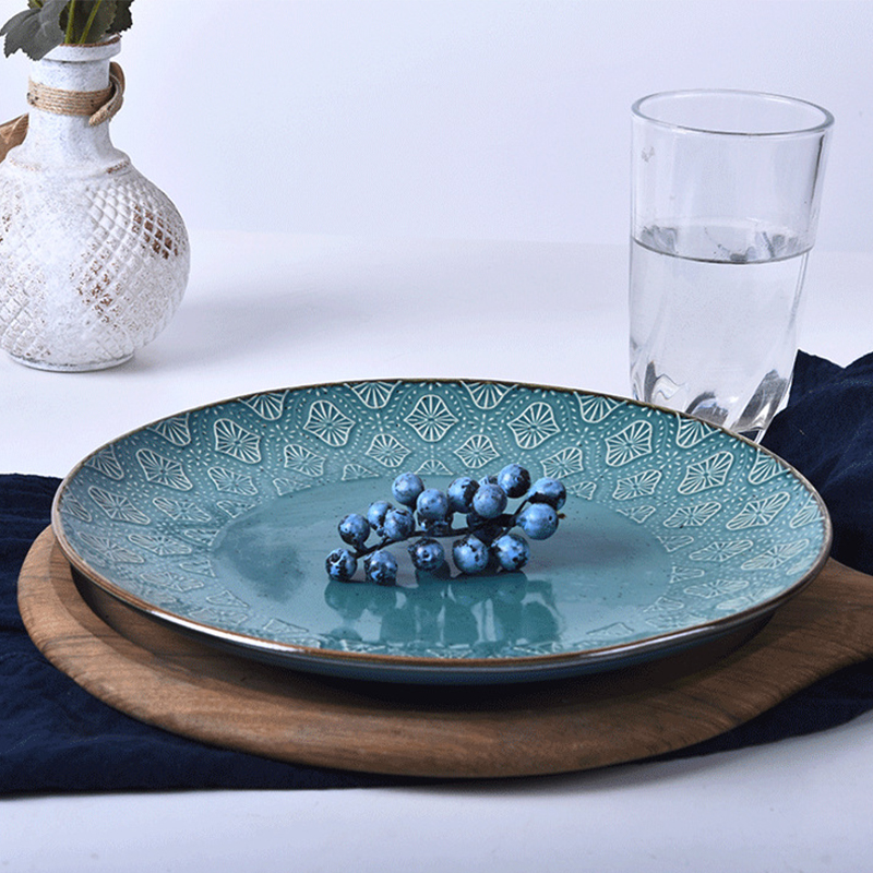 Tableware Ceramic Dinner Plate Set Dish 8/10 Inch Porcelain Cute Dessert Plate Dinnerware Embossed Vintage Dinner Plate