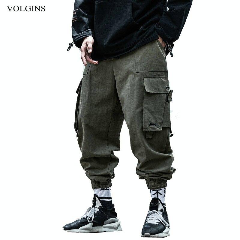 Streetwear Cargo Pants Mens Plus Size Hip Hop Side Pocket Casual Hot Sale Loose Black Sweatpant 2020 New Hot Sale