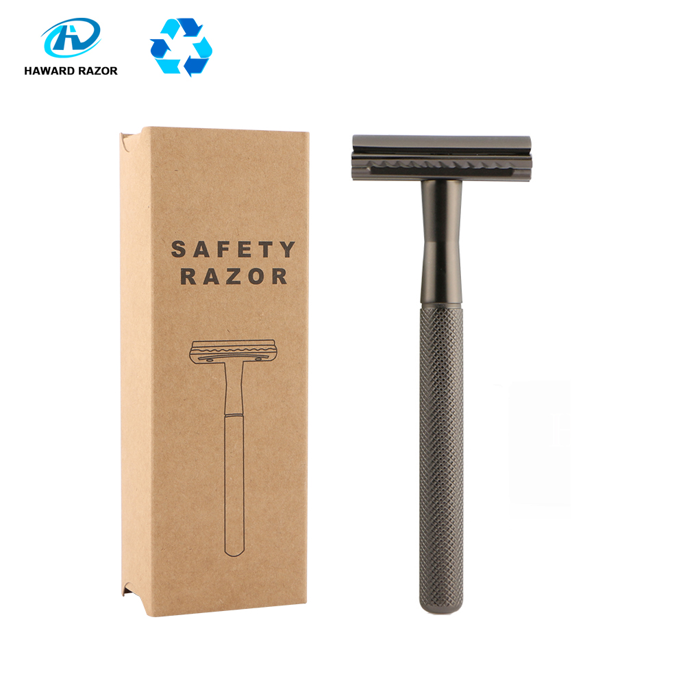 HAWARD Men's Double Edge Safety Razor Classic Shaving Razor Zinc Alloy Metal Manual Shaver Women Hair Removal Shaver 20 Blades