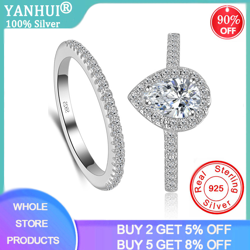 YANHUI Women's 2pcs Silver Rings Set Teardrop Cubic Zircon Engagement Ring Silver 925 Jewelry Wedding Bands Rings Set XR037